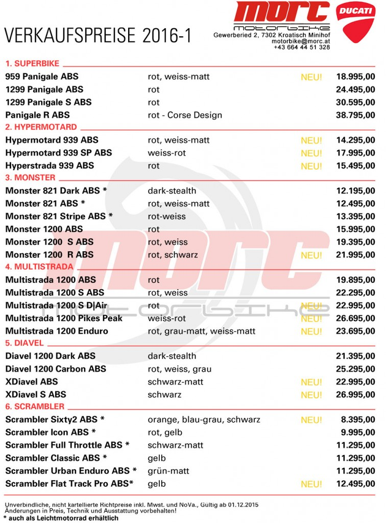 Ducati Österreich Preisliste 2016